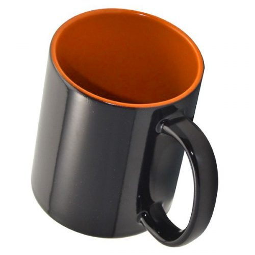 Кружка хамелеон черная и оранжевая внутри