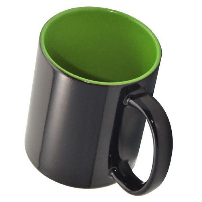 Кружка хамелеон черная и зеленая внутри